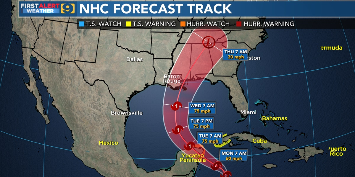 10 a.m. Zeta NHC forecast cone