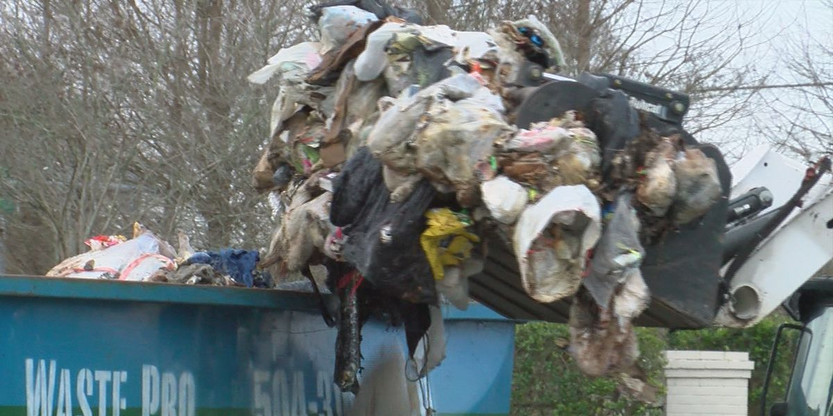 Waste Pro cleans up trash pile after dumping it on neighborhood street due to fire hazard