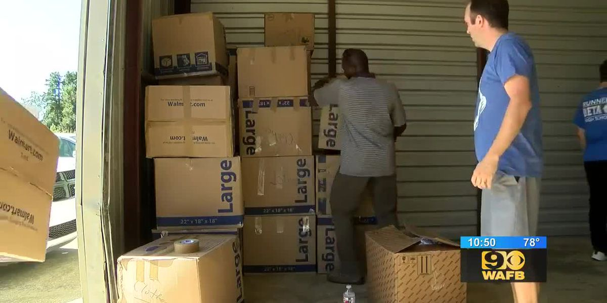 Baton Rouge firefighter gets help packing relief supplies for Hurricane Dorian victims in Bahamas
