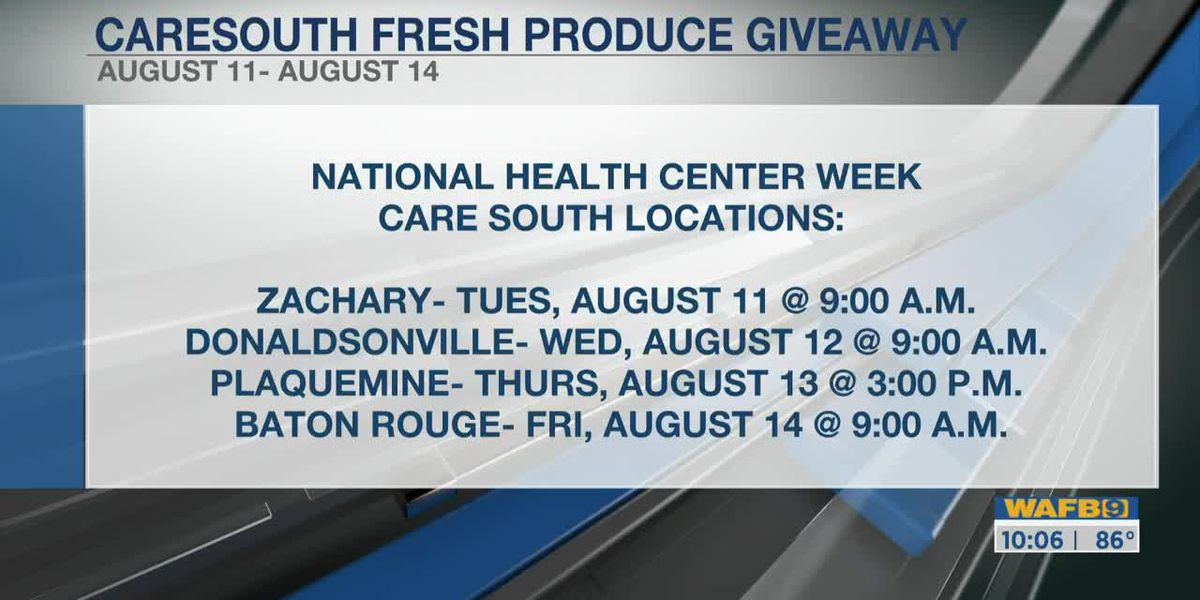 CareSouth hosting fresh produce giveaway events Aug. 11 - 14