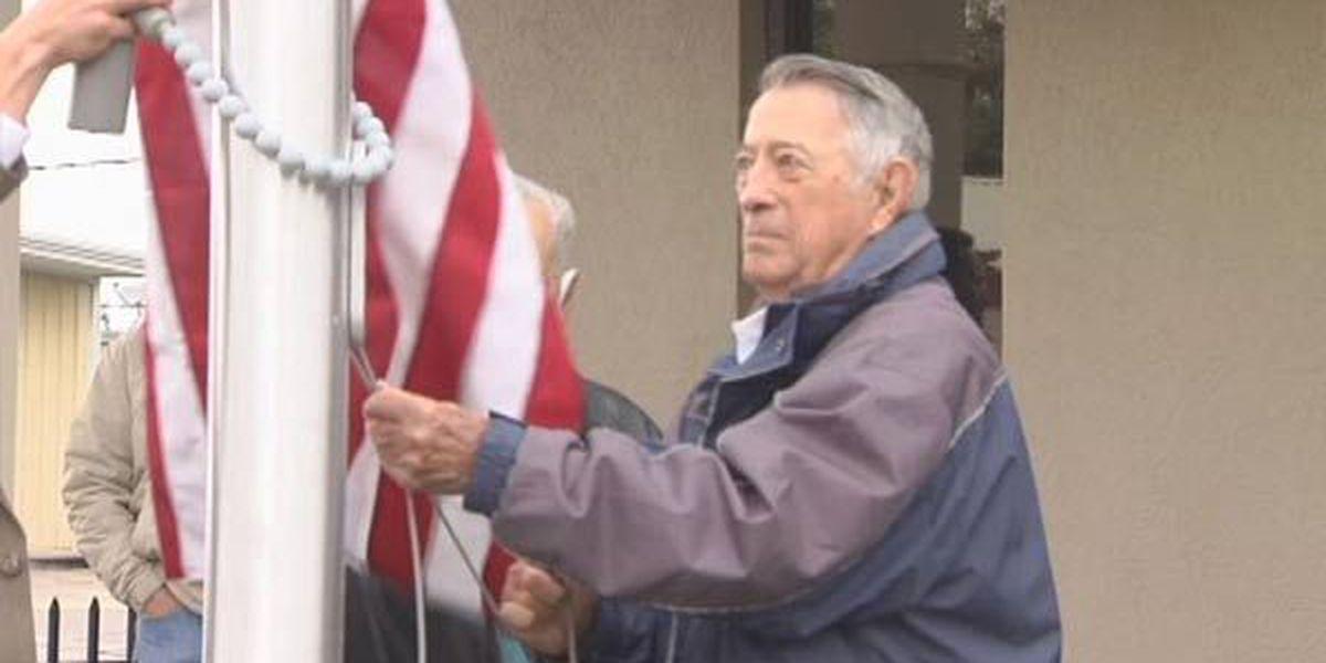 Flag pole dedicated in honor of veterans