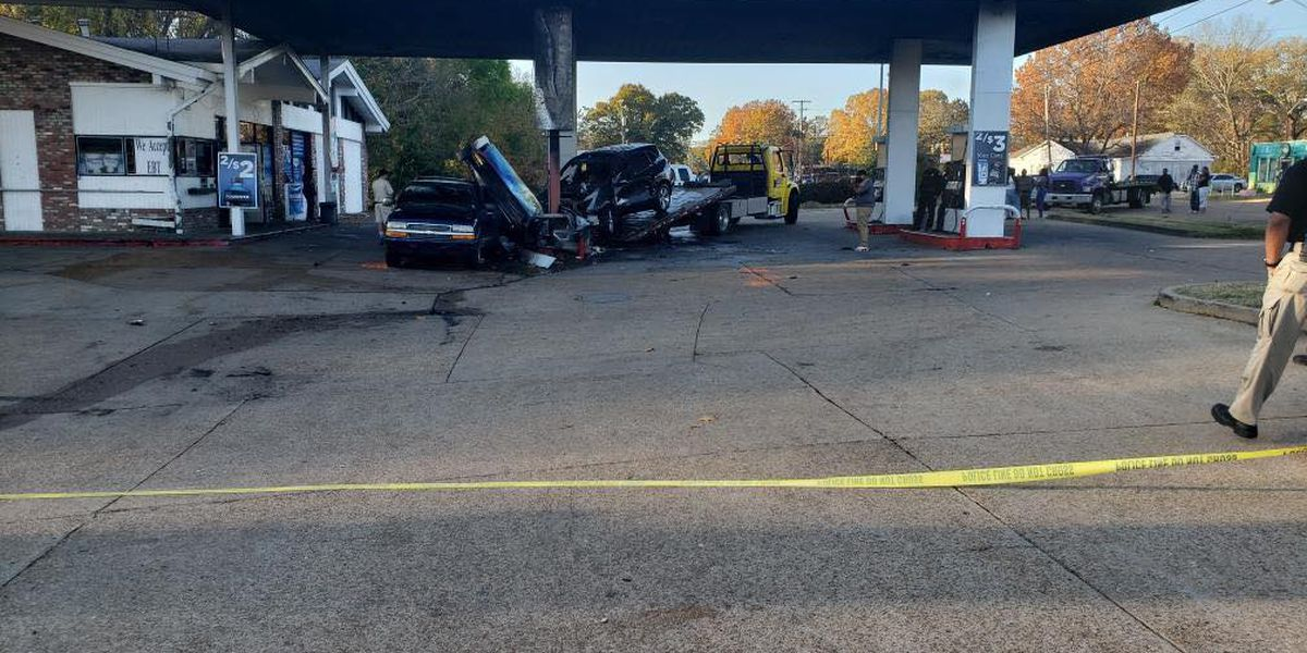 Man burns to death after crashing carjacked car into gas station pump, shooting in air