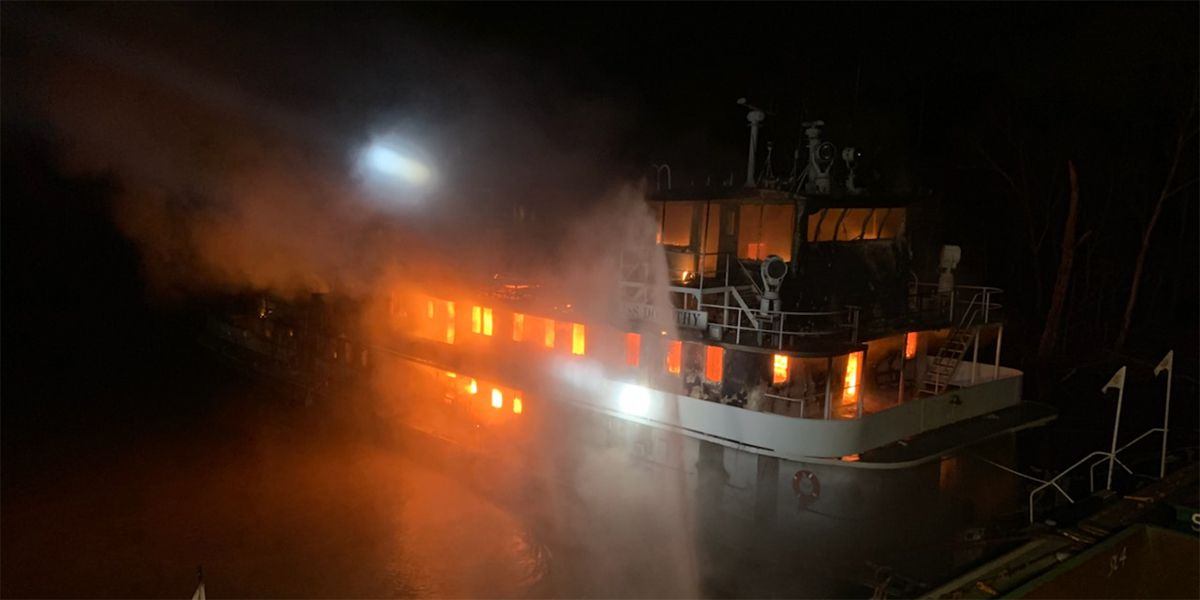 Multiple crews work together to put out blaze on tugboat; no injuries reported