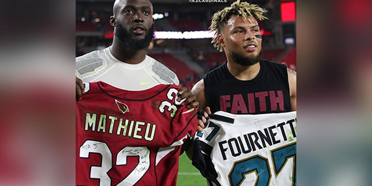 newest c650b 45c05 Former LSU football stars Fournette, Mathieu exchange ...