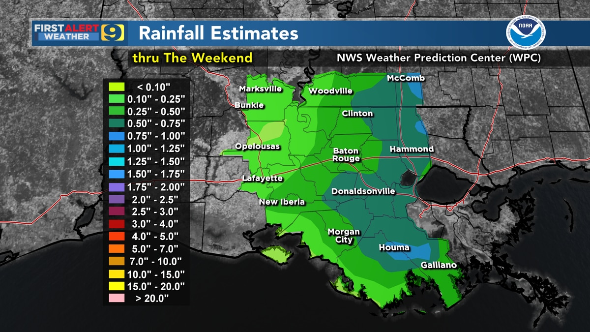 FIRST ALERT FORECAST: Rain chances increase for remainder of week, weekend