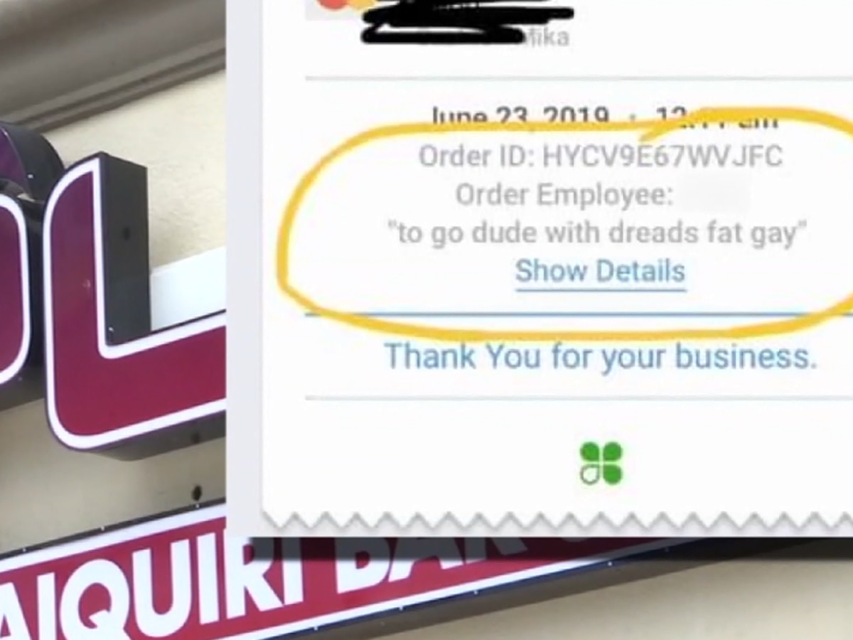 Customer says he was insulted after being described as 'fat, gay' on restaurant receipt