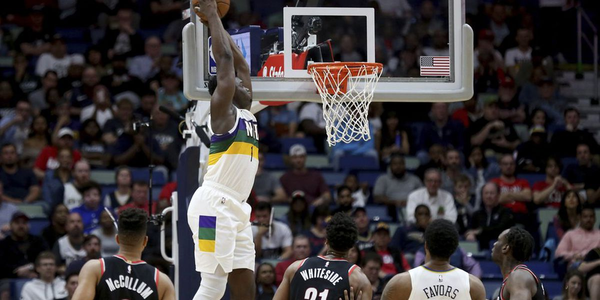 Zion's 31 points pushes Pelicans past Blazers, 138-117