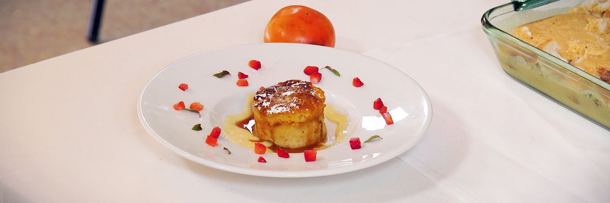 White Chocolate Persimmon Bread Pudding