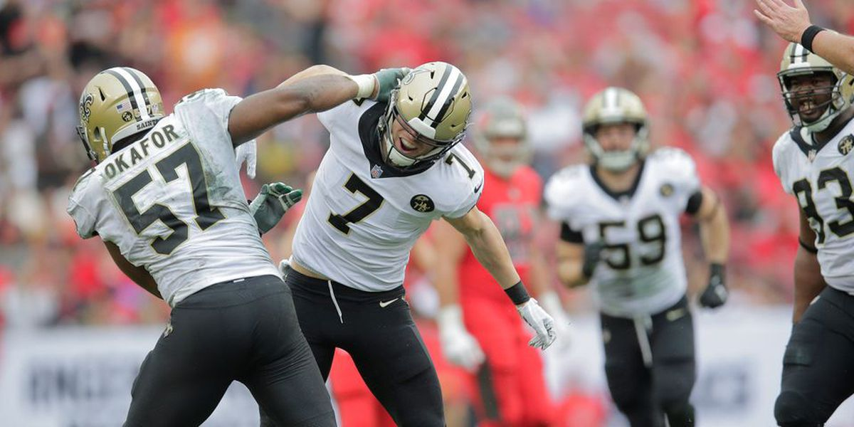 Alex Okafer a full participant at practice on Thursday for the Saints