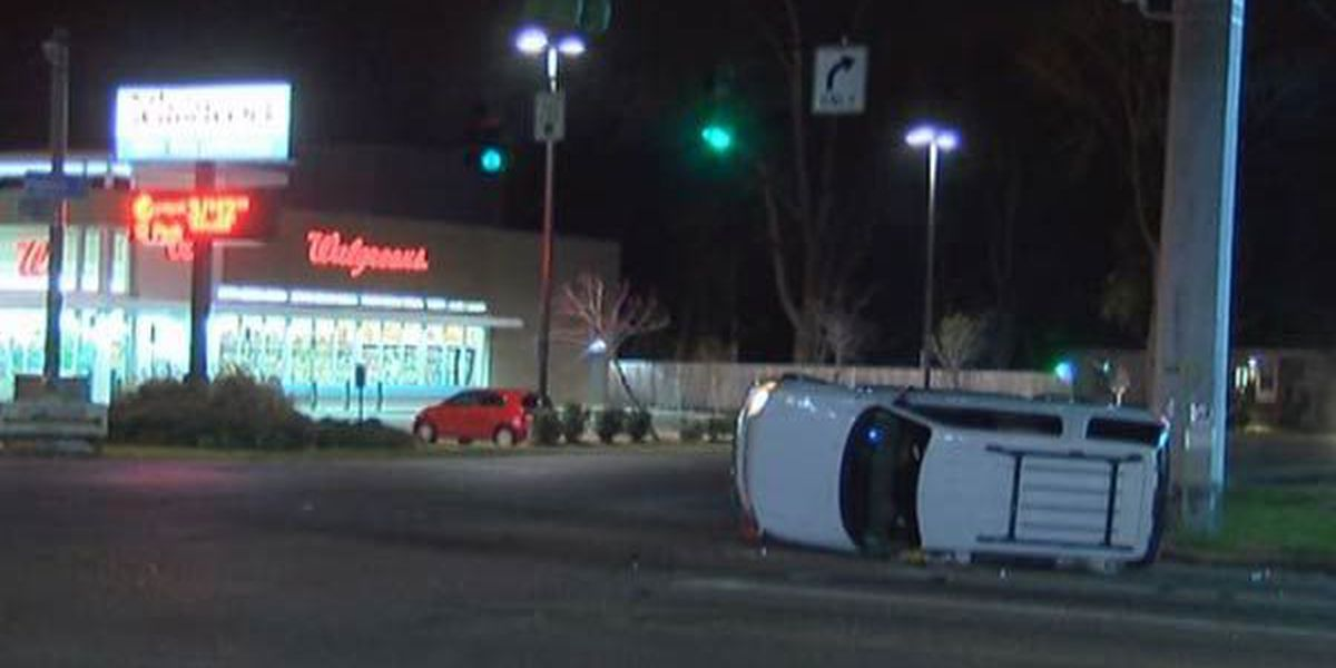 Police search for silver Mercedes after hit and run in which SUV overturned