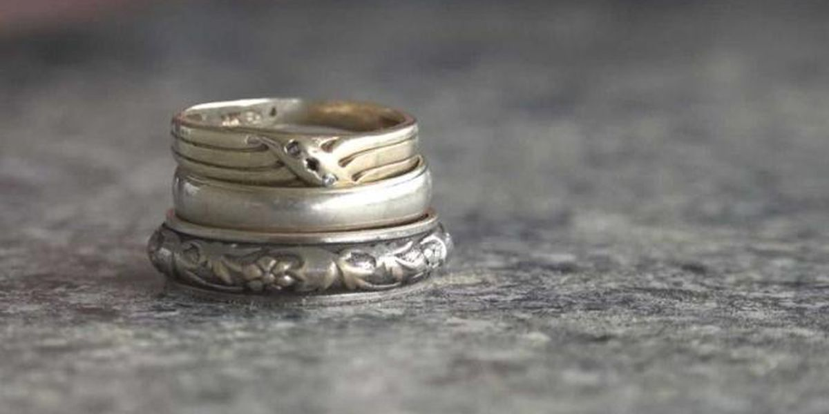 Man speechless after grandparents' wedding rings recovered from apartment fire
