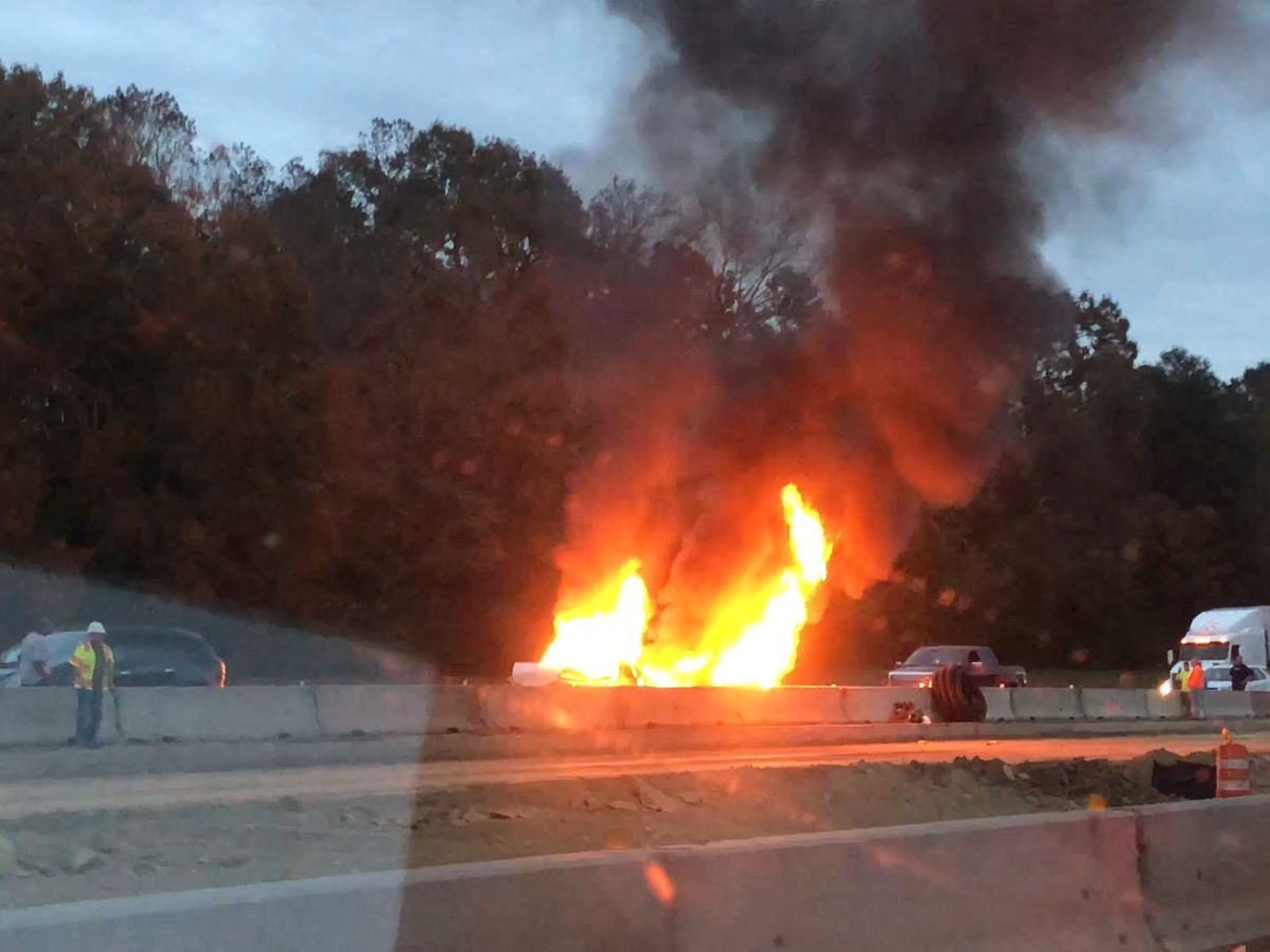 Early morning vehicle fire causes heavy backups on I-10