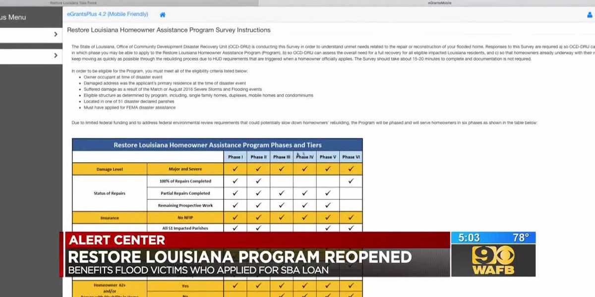 UPDATE: Restore Louisiana program reopened