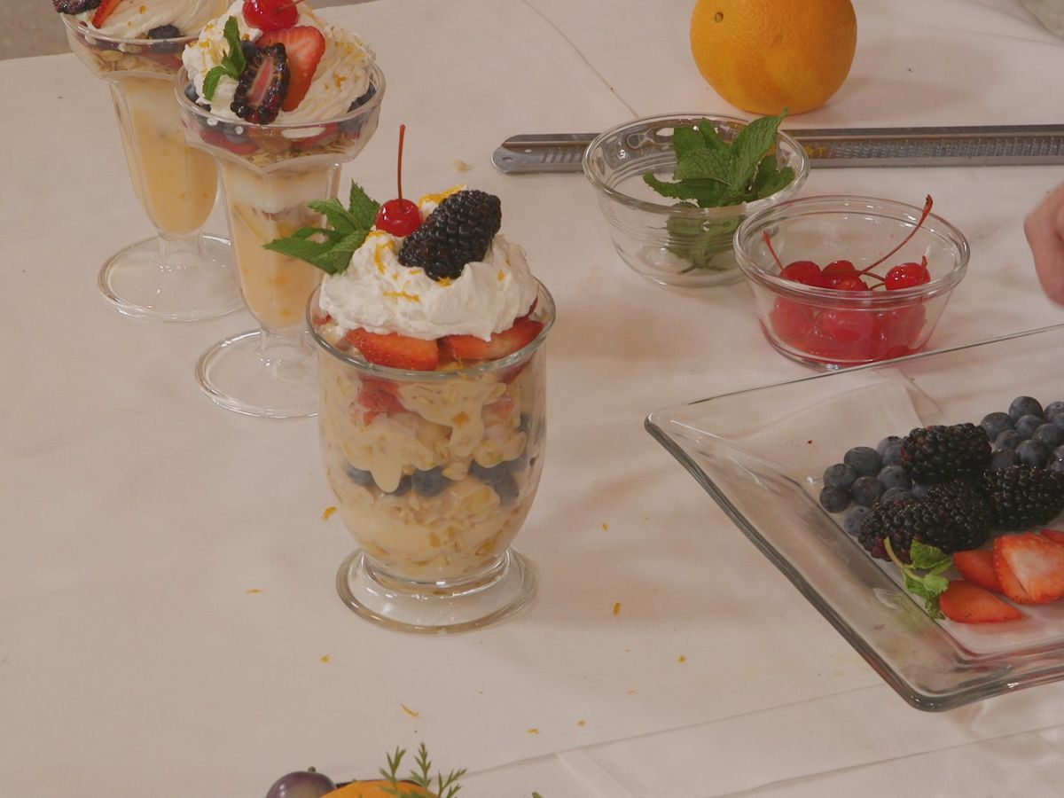 Angel Food Cake, Summer Fruit, and Yogurt Parfait