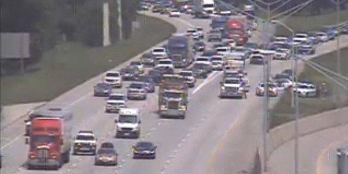 Left lane reopens on I-10 West at I-10/I-12 split after accident.