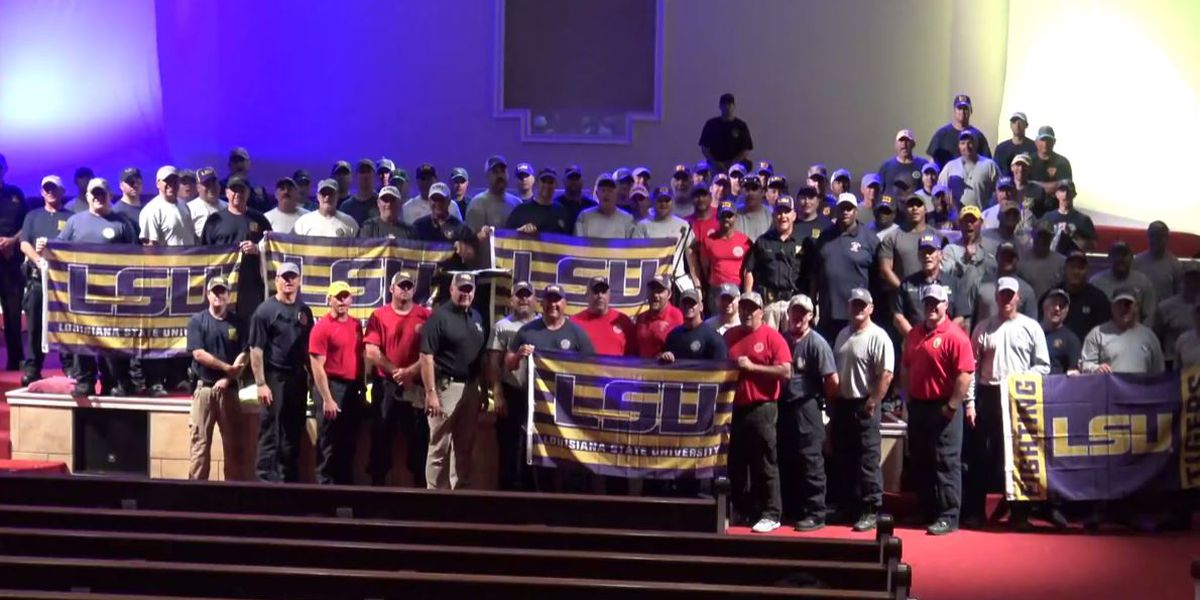 First responders gifted hats, flags from LSU for their efforts in hurricane-stricken Florida panhandle
