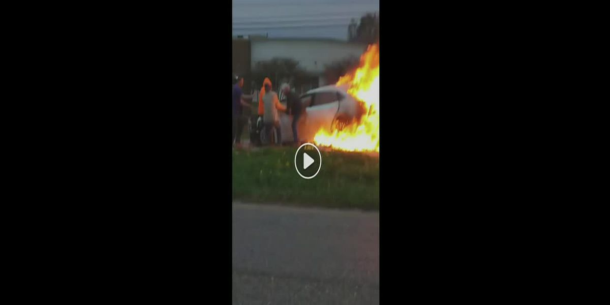 Person rescued from burning vehicle