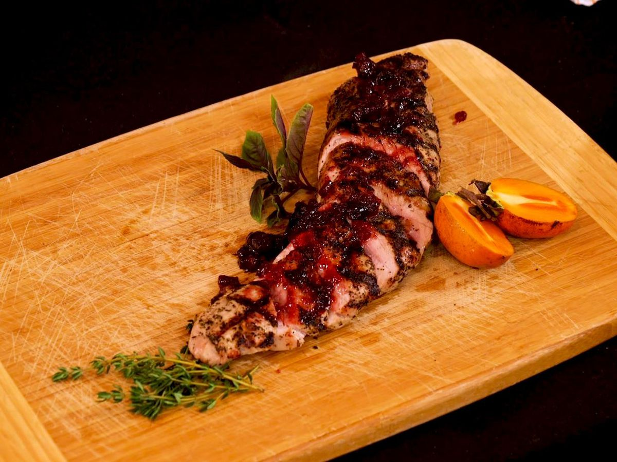 Grilled Loin of Pork with Persimmon Glaze
