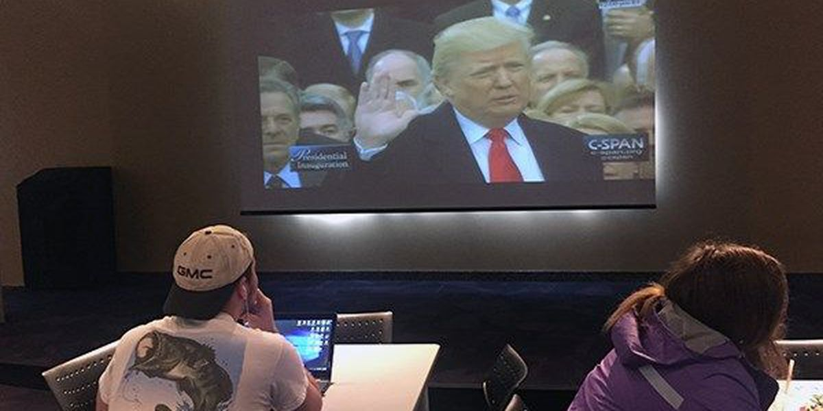 Students react to inauguration of President Donald Trump
