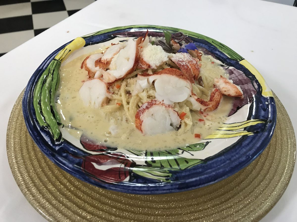 Spaghetti Carbonara with Lobster and Pecorino Romano