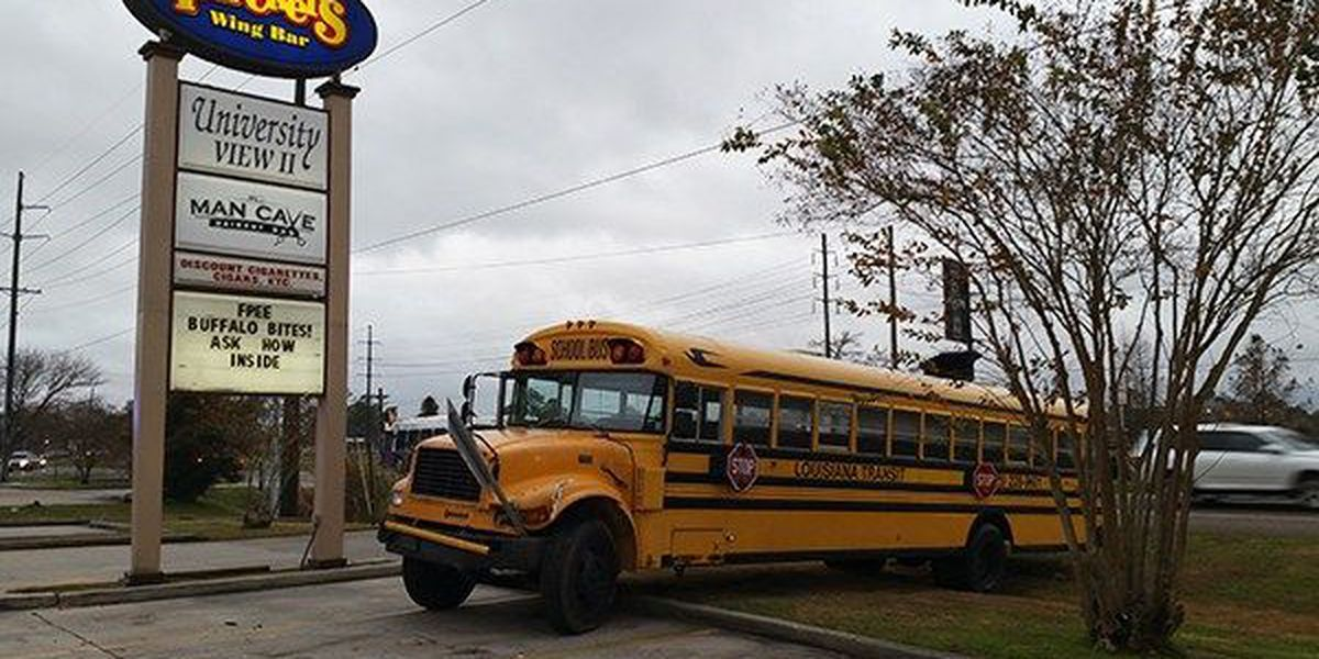 Bus veers off road and hits sign near small shopping center