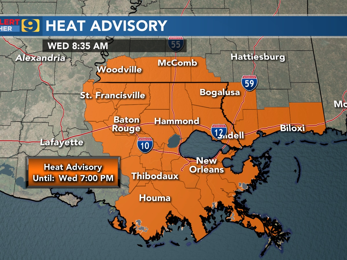 FIRST ALERT FORECAST: Heat advisory in effect until 7 p.m.