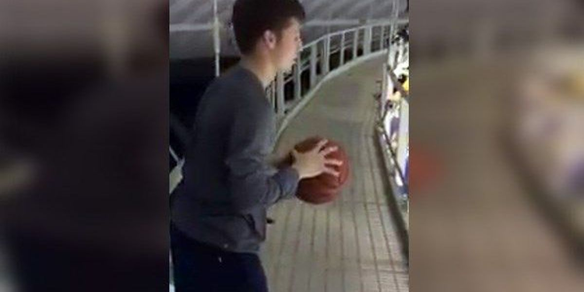 VIDEO: LSU men's basketball manager hits amazing trick shot from top of arena