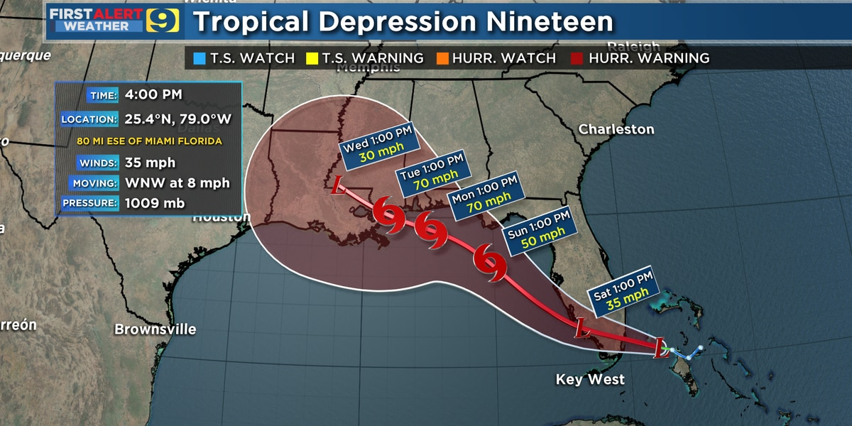 Tropical Depression No. 19, forecasted to become a tropical storm by Saturday.