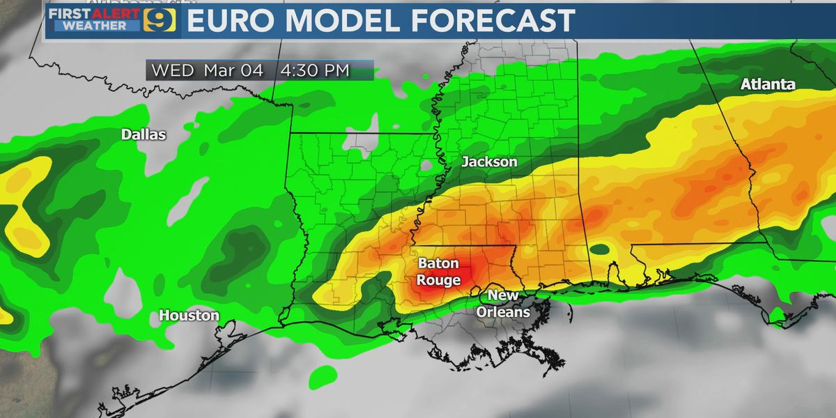 FIRST ALERT FORECAST: Low-end risk for severe weather Tuesday, increases Wednesday