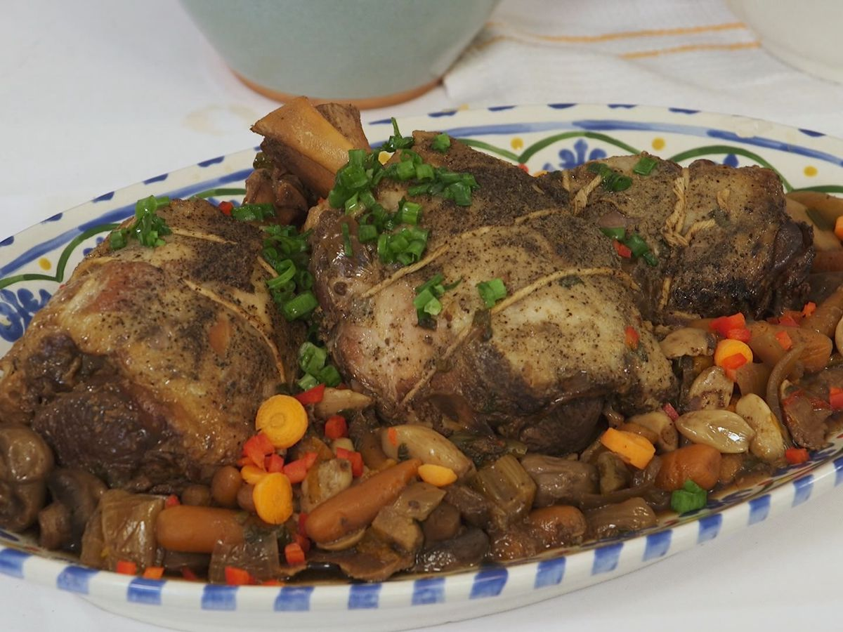 Braised Pork Shanks with White Beans and Winter Vegetables