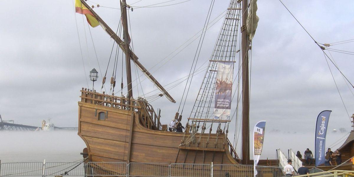 Replica of Christopher Columbus' ship docks near USS Kidd