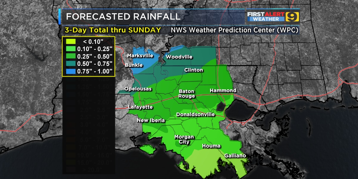 FIRST ALERT FORECAST: Cold front moving through Sunday; widespread rain expected