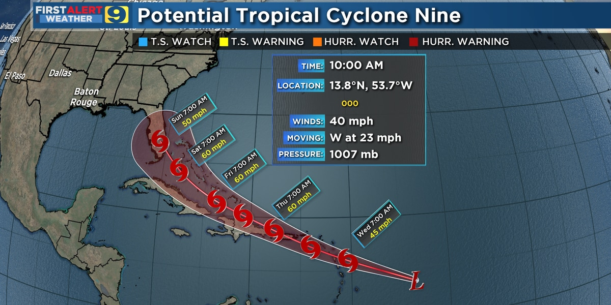 FIRST ALERT FORECAST: Advisories issued on Potential Tropical Cyclone #9; Flash Flood Watch remains in effect