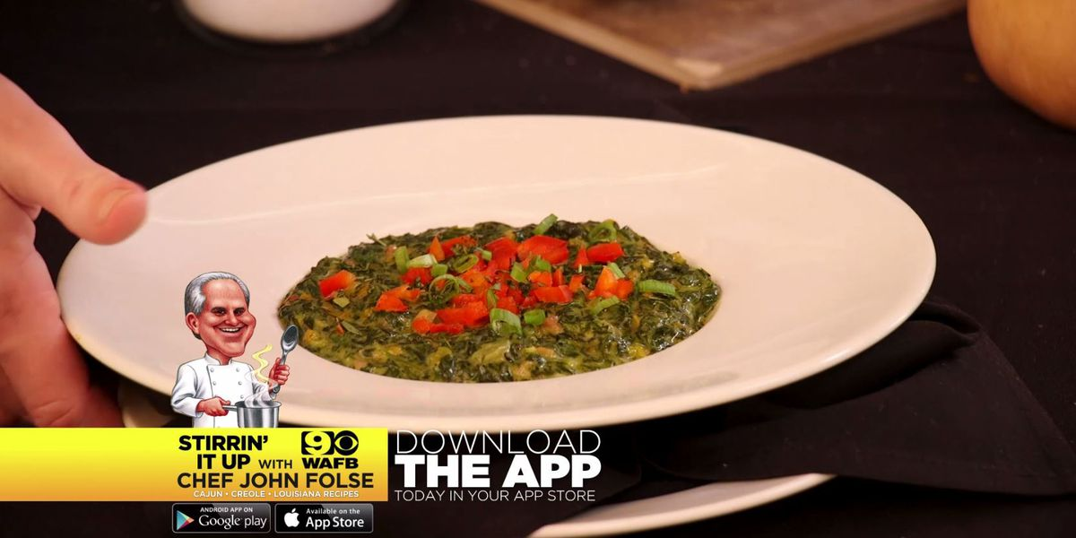 Creamed Spinach with Sugar-Cured Ham and Minced Yams
