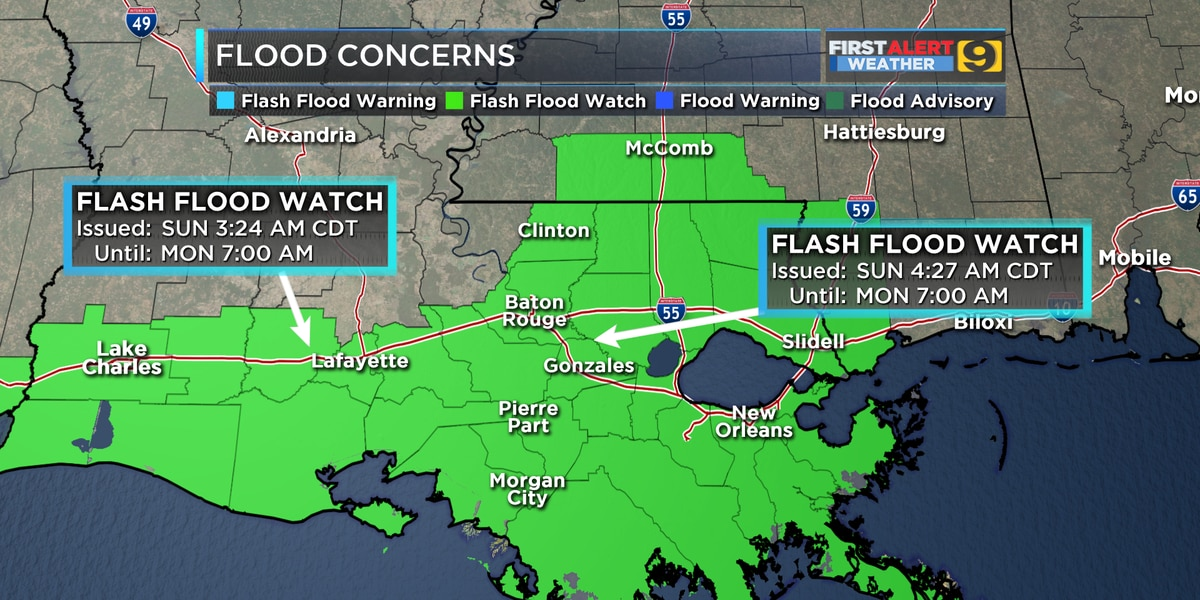 FIRST ALERT FORECAST: Flash Flood Watch issued Sunday morning