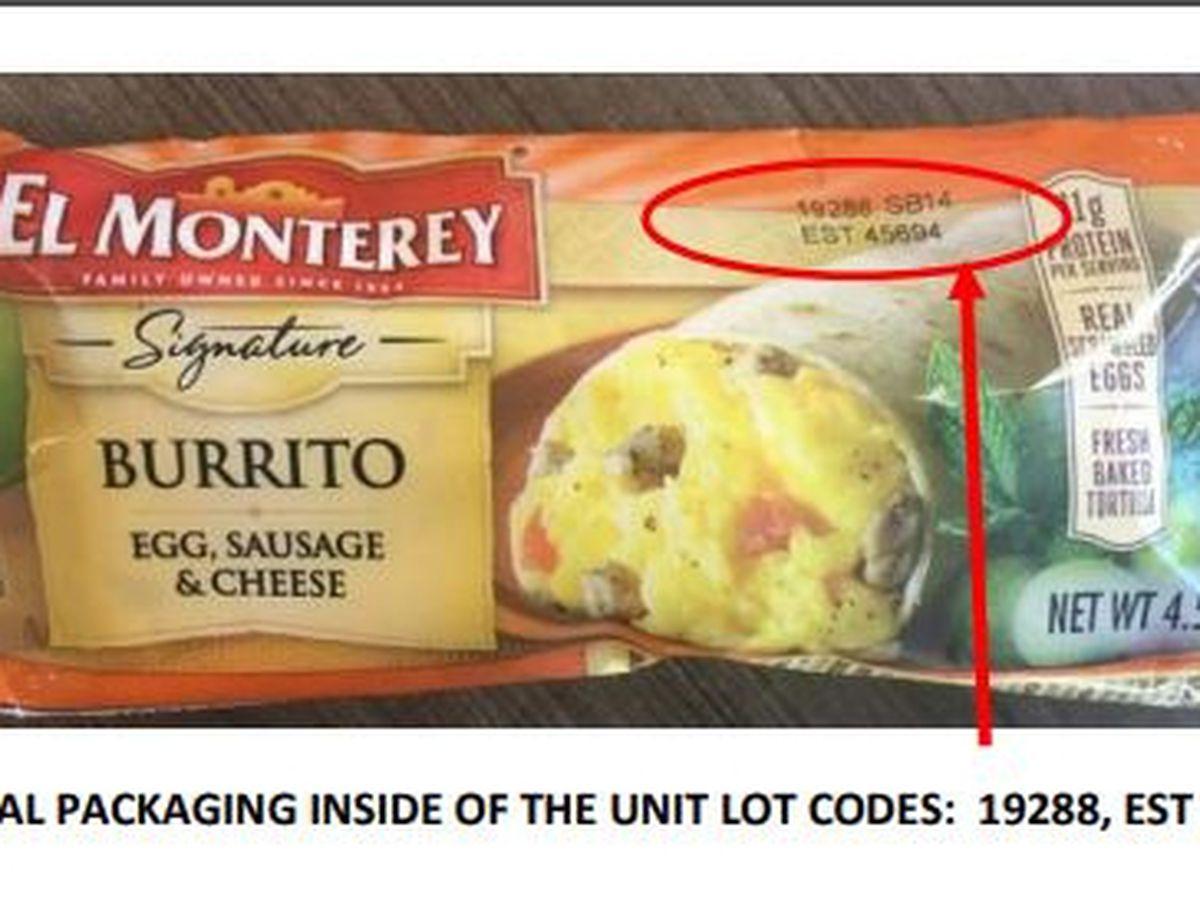 55,000 pounds of El Monterey breakfast burritos recalled