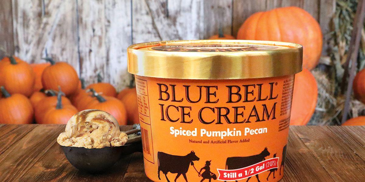 Blue Bell's Spiced Pumpkin Pecan Ice Cream flavor in stores now
