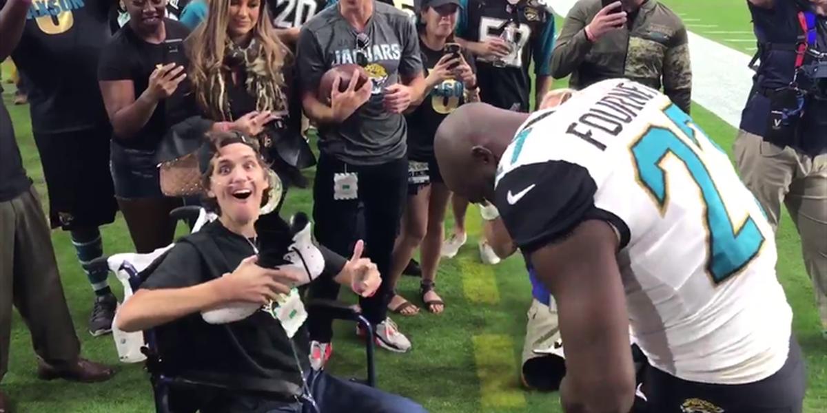 VIDEO: Former LSU football star Leonard Fournette thrills Jaguars fan with pregame meet-and-greet