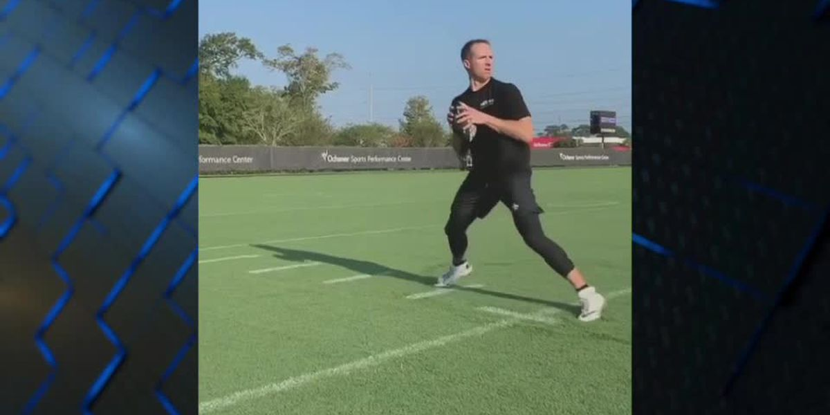 Drew Brees throwing football around for the first time since thumb injury