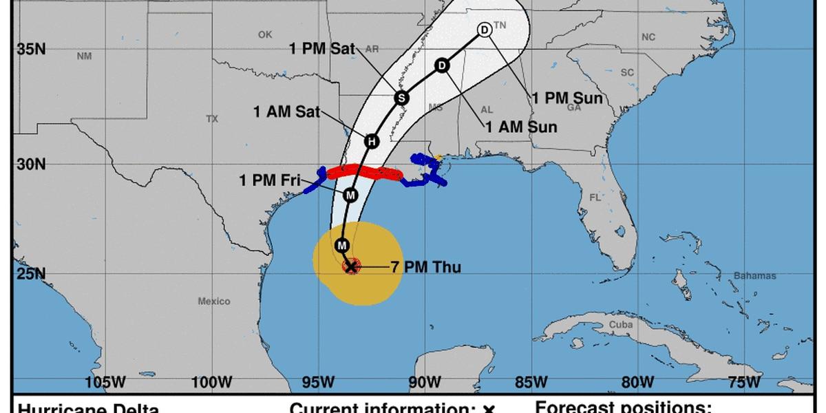 7 p.m. NHC Hurricane Delta update - Thursday, Oct. 8