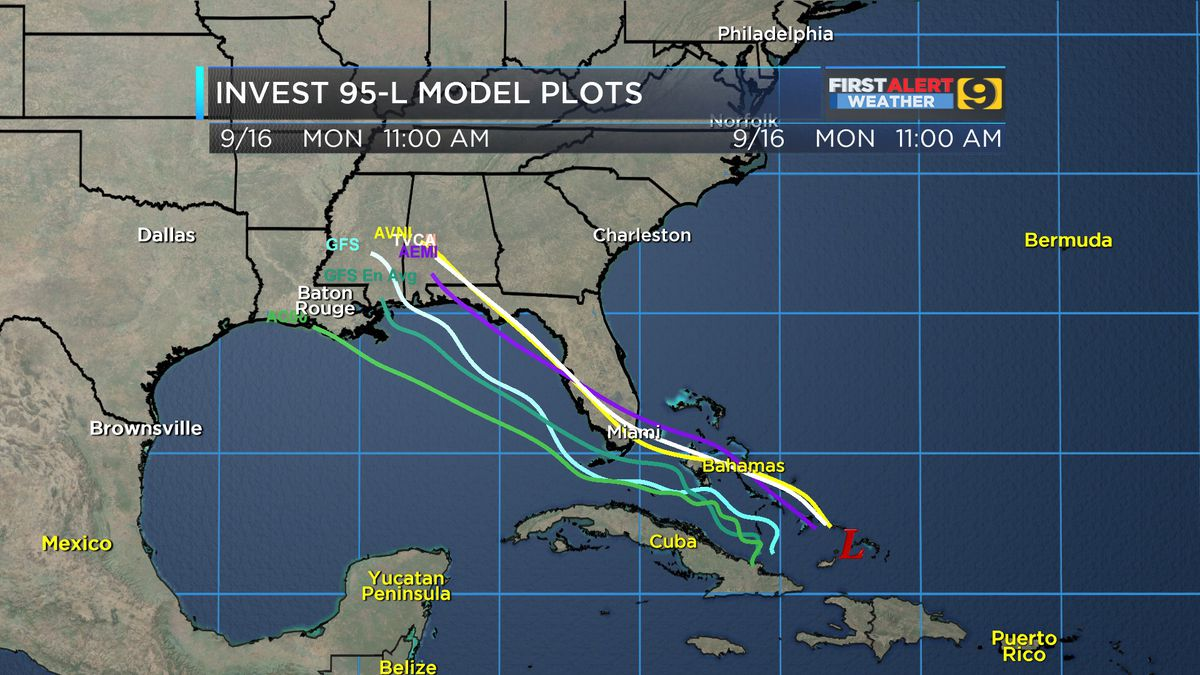 Invest 95-L continues tracking towards Gulf of Mexico