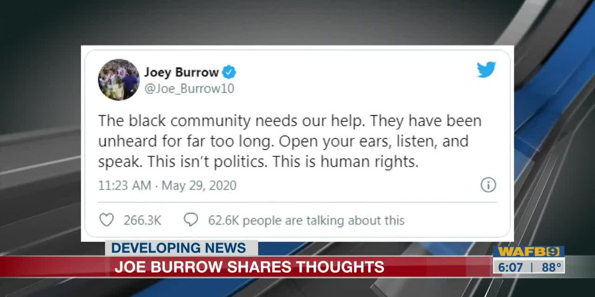 Former LSU QB Joe Burrow take to Twitter to express thoughts on recent racial unrest