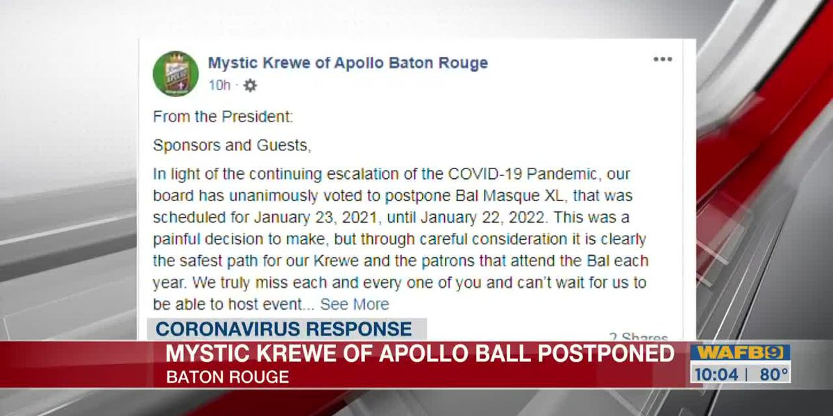 Mystic Krewe of Apollo postpones 2021 Mardi Gras ball until 2022