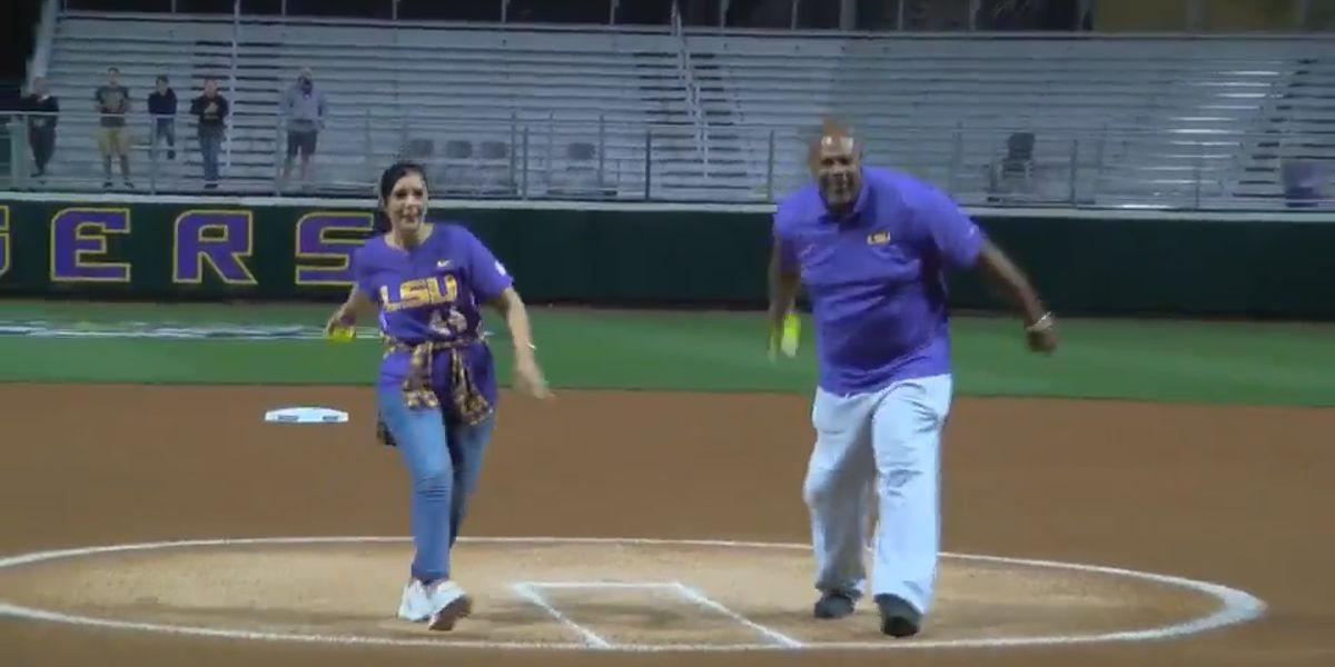 Parents of Wayde Sims throw first pitch at LSU softball home opener