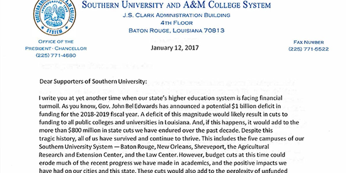 Southern president asks supporters to write to reps about governor's proposed cut to education