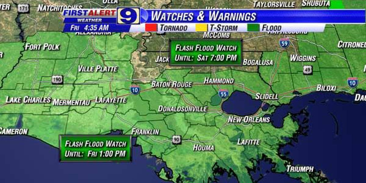 NWS extends flash flood watch to Saturday for some areas
