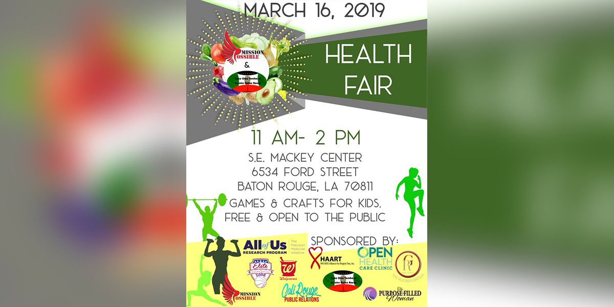 Community health fair in north Baton Rouge scheduled for Mar. 16
