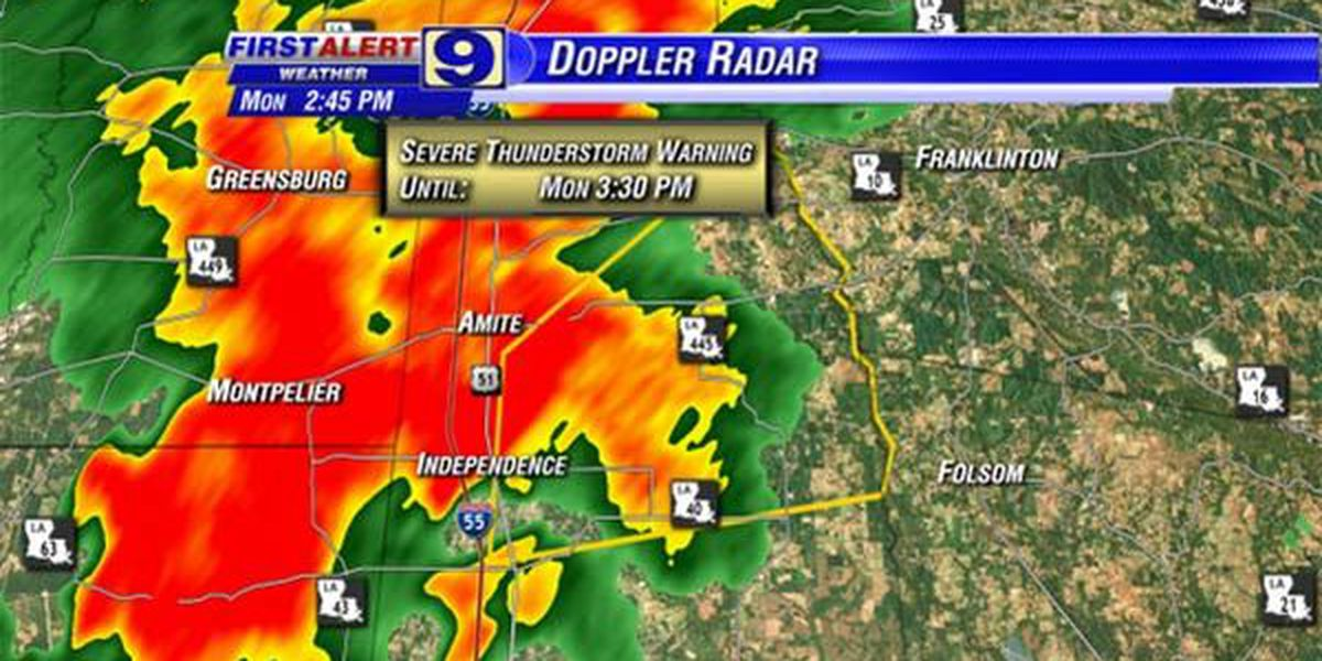 Severe t-storm warning issued for several parishes in South Louisiana