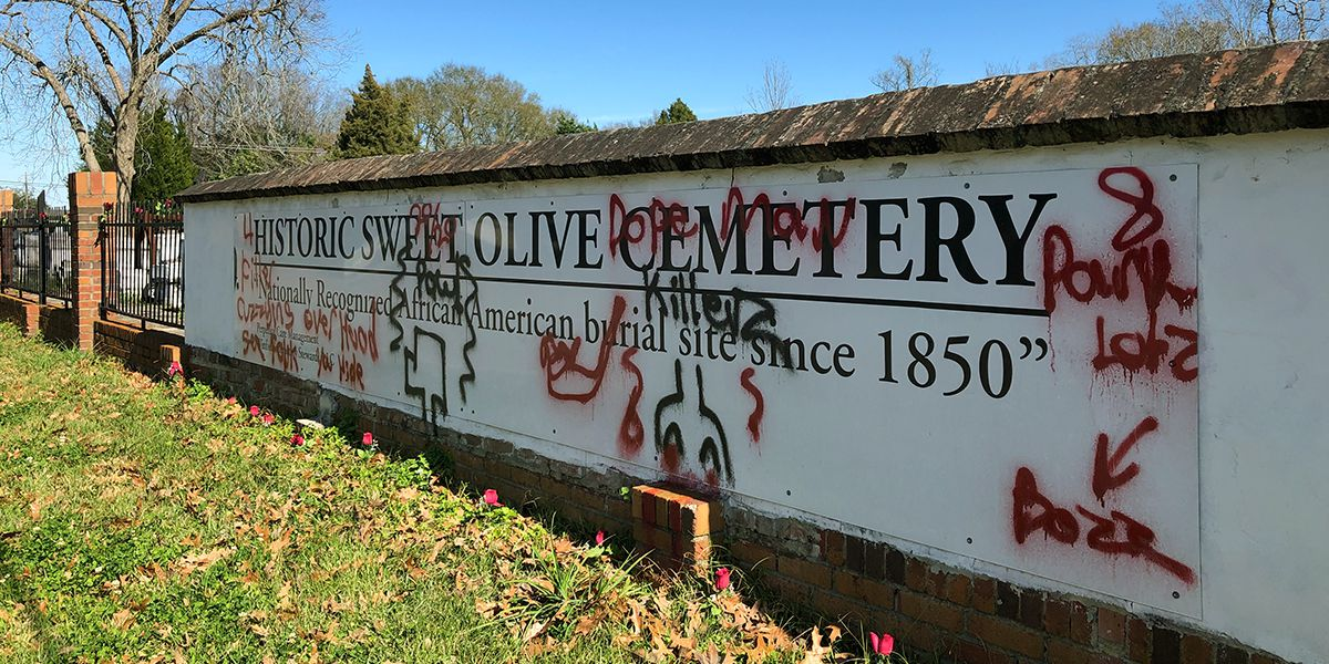 Police investigating vandalism at Historic Sweet Olive Cemetery