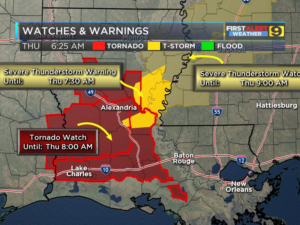 FIRST ALERT FORECAST: Tornado watch until 3 p.m.